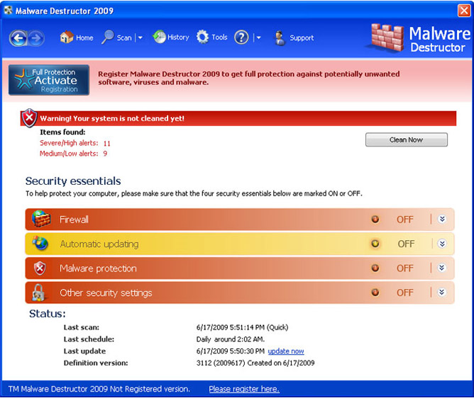 Remove Malware Destructor 2009